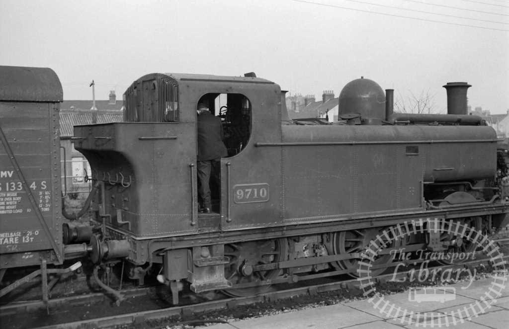 BR British Railways Steam Locomotive Class 5700 9710  at Southall in 1957 - 22/12/1957 - J E Bell