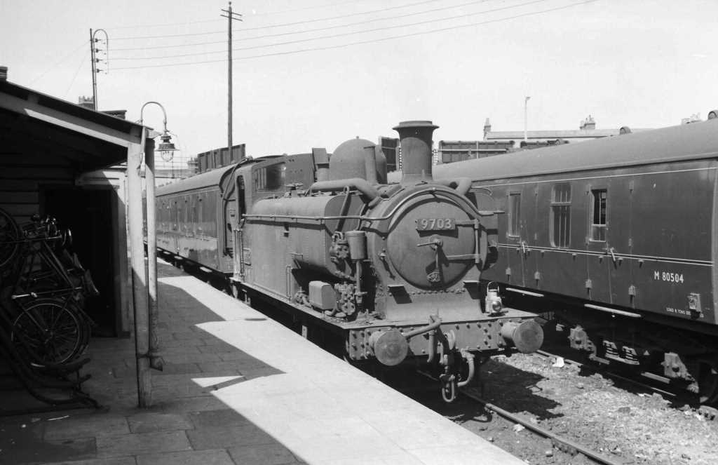 BR British Railways Steam Locomotive Class 5700 9703  at Southall in 1959 - 05/07/1959 - J E Bell