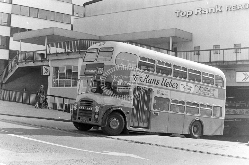 Southend Corporation Albion Lowlander 328 7092HJ at Reading in 1970s on route X92 - JGS Smith