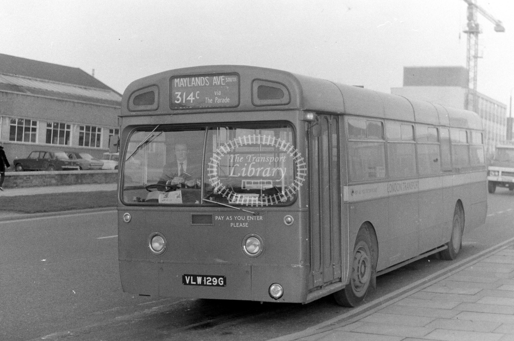 London Country AEC Merlin Class MB MB129 VLW129G at Hemel Hempstead in 1970s on route 314C - JGS Smith