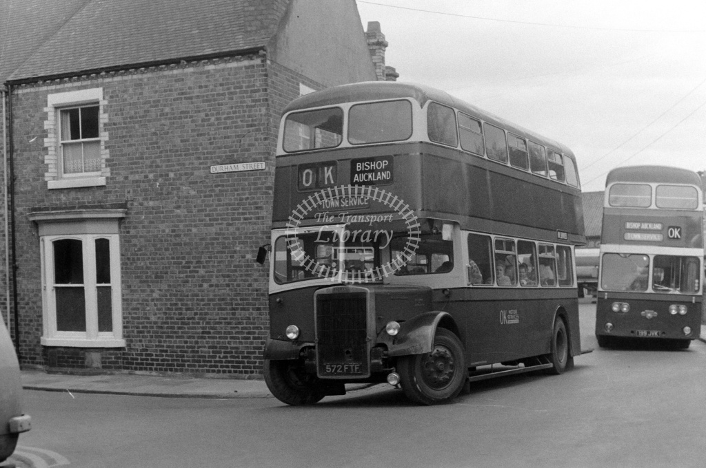 OK Motor Services Leyland PD3/4 572FTF at Bishop Auckland in 1970s - JGS Smith