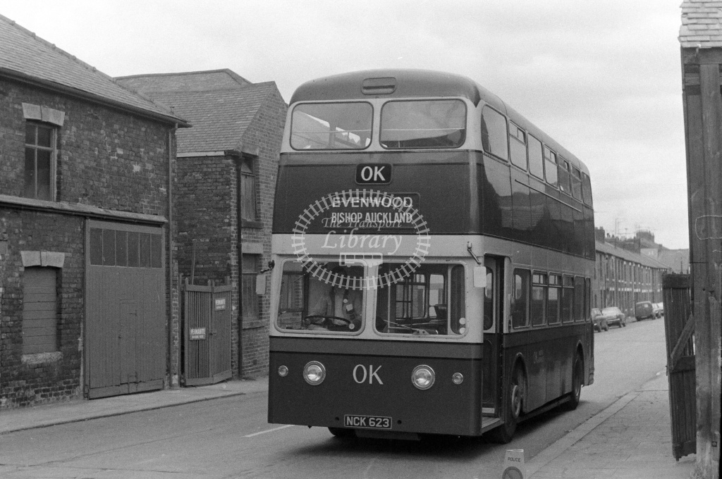 OK Motor Services Leyland Atlantean PDR1/1 NCK623 at Bishop Auckland in 1970s - JGS Smith