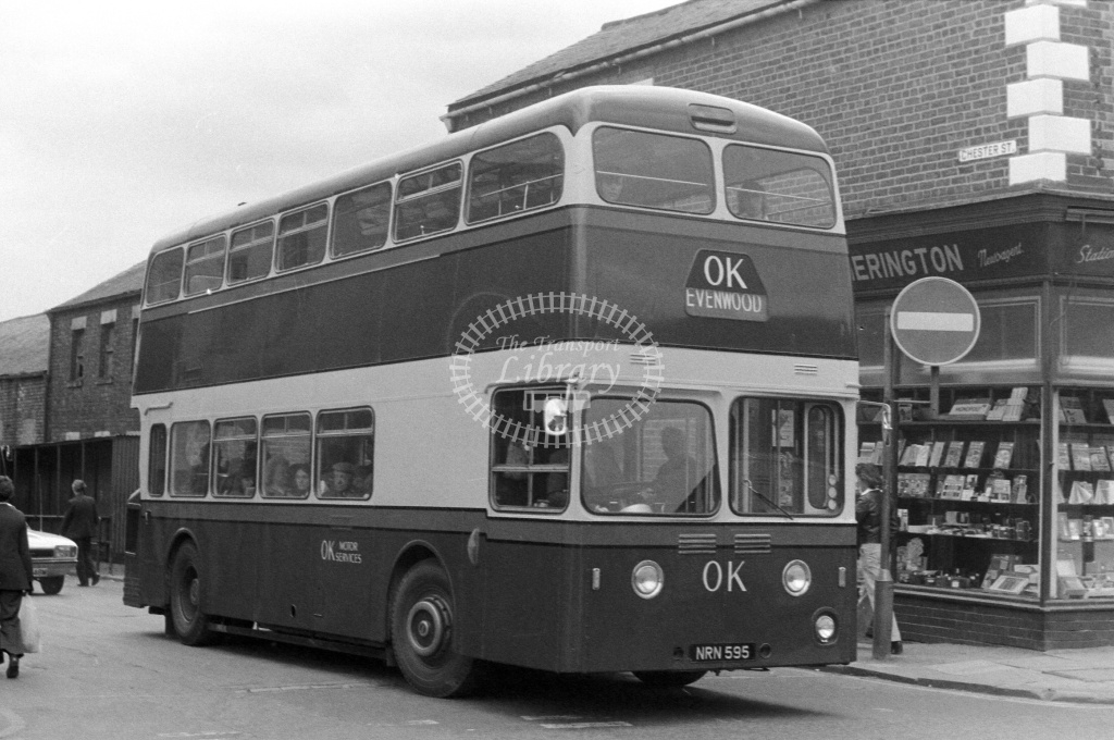 OK Motor Services Leyland Atlantean PDR1/1 NRN595 at Bishop Auckland in 1970s - JGS Smith