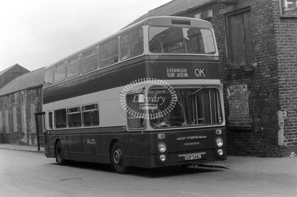OK Motor Services Leyland Atlantean XUP348L at Bishop Auckland in 1970s - JGS Smith