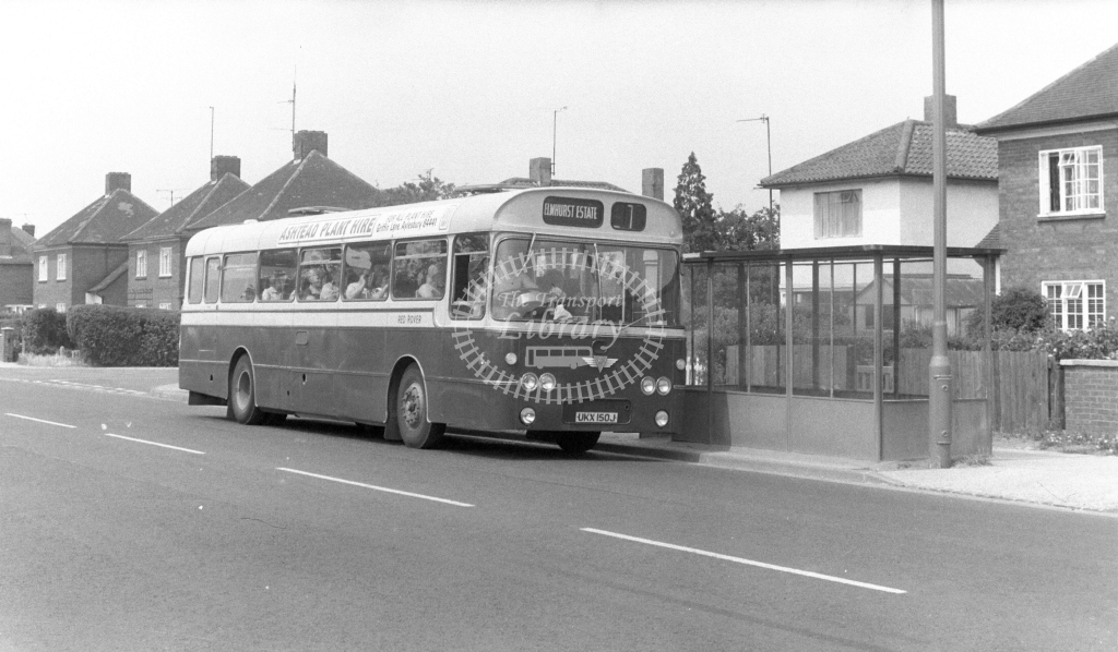 Red Rover AEC Reliance UKX150J at Aylesbury in 1970s - JGS Smith