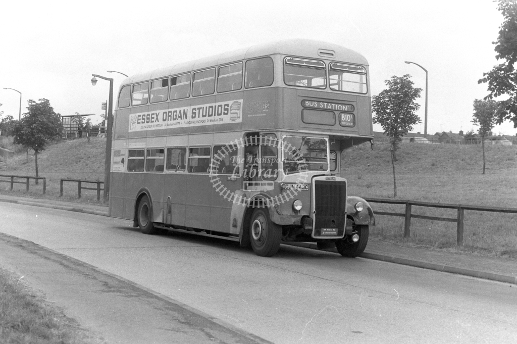 Southend Transport - on hire to London Country Leyland PD3 343 CJN443C at Harlow in 1977 on route 810A - JGS Smith