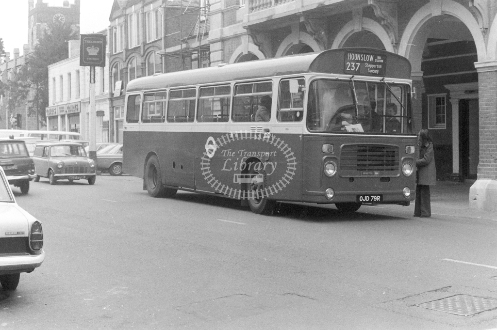 London Transport Bristol LH Class BL BL79 OJD79R at Chertsey in 1977 on route 237 - JGS Smith