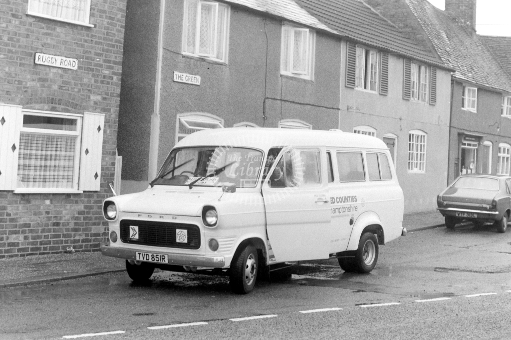 United Counties Ford Transit TVD851R at Lilbourne in 1977 - JGS Smith