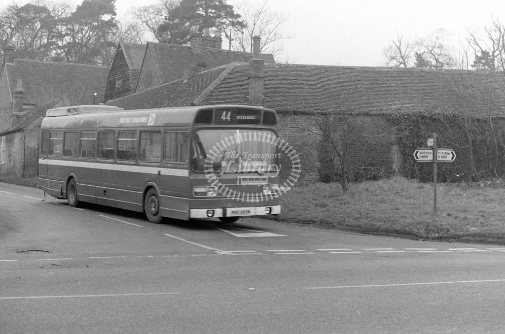 United Counties Leyland  National 480  on route 44 RNV480M  at Rush Green  in 1979 - JGS Smith