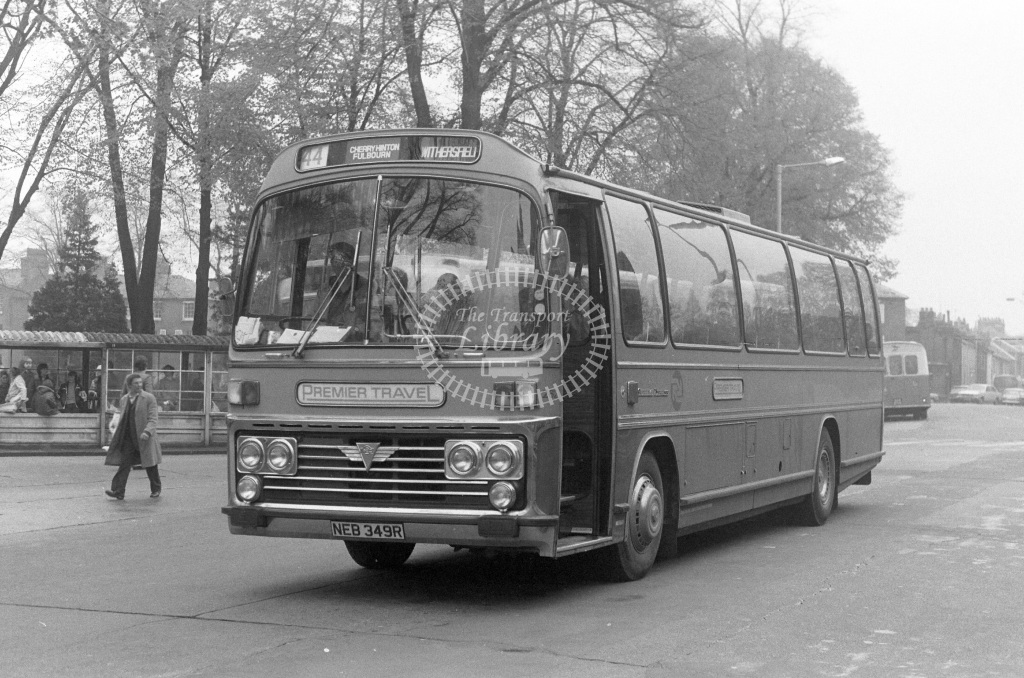 Premier Travel AEC Reliance 262 NEB349R  at Cambridge  in 1977 - JGS Smith