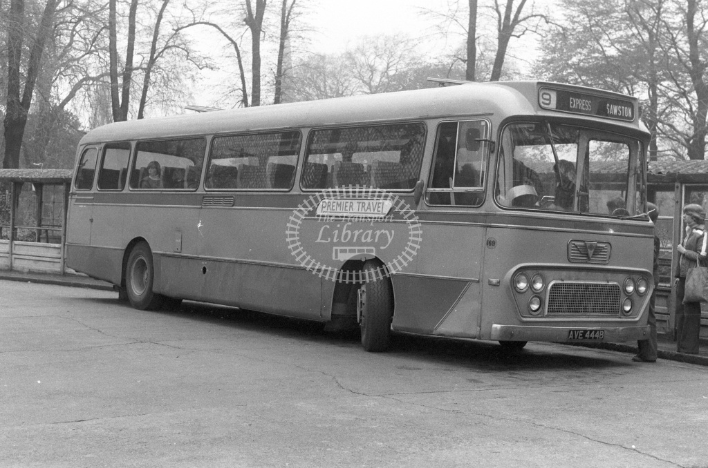 Premier Travel AEC Reliance 169 AVE444B  at Cambridge  in 1977 - JGS Smith