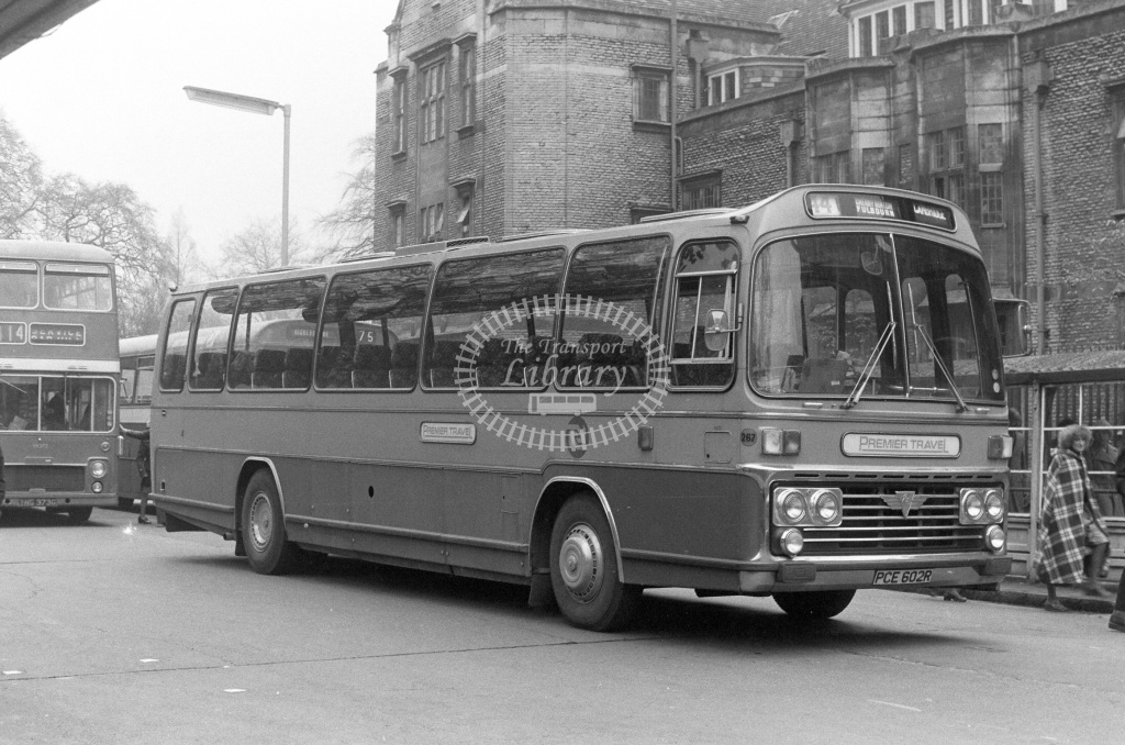Premier Travel AEC Reliance 267 PCE602R  at Cambridge  in 1977 - JGS Smith