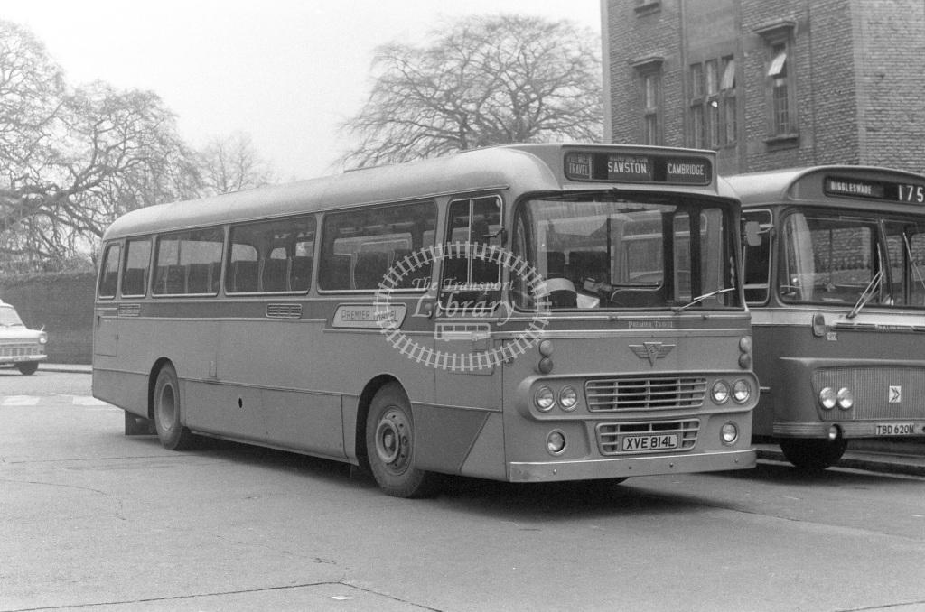 Premier Travel AEC Reliance 237 XVE814L  at Cambridge  in 1977 - JGS Smith