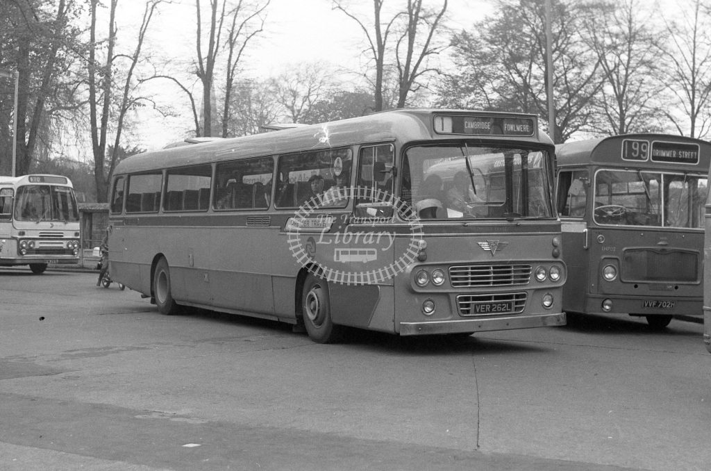 Premier Travel AEC Reliance VER262L  at Cambridge  in 1977 - JGS Smith