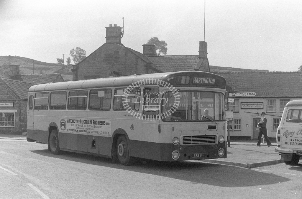 Chesterfield Leyland Panther 81 SRB81F  at Hartington,Derbyshire  in 1979 - JGS Smith