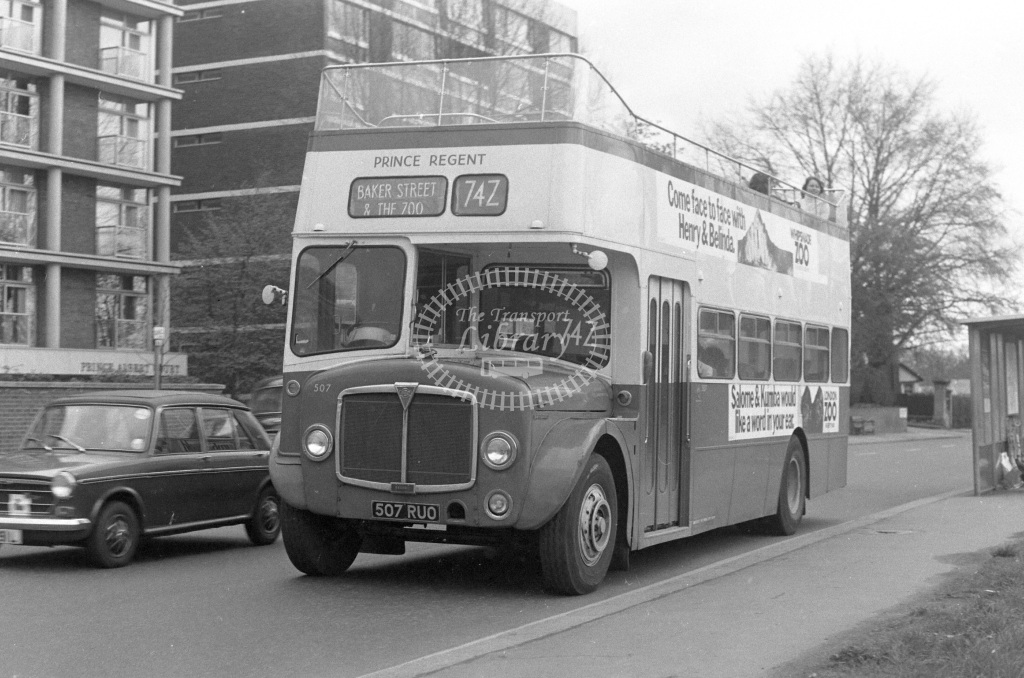 Unknown Operator AEC Regent 507  on route 74Z 507RUO  at Regents Park  in 1979 - JGS Smith