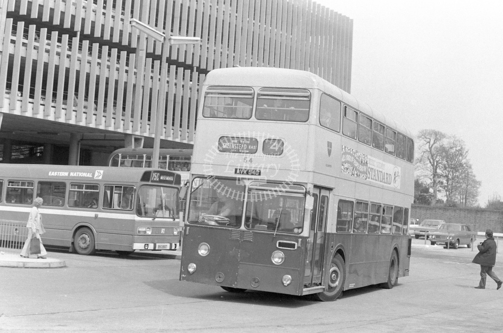 Colchester Leyland Atlantean AVX54G  at Colchester  in 1979 - JGS Smith