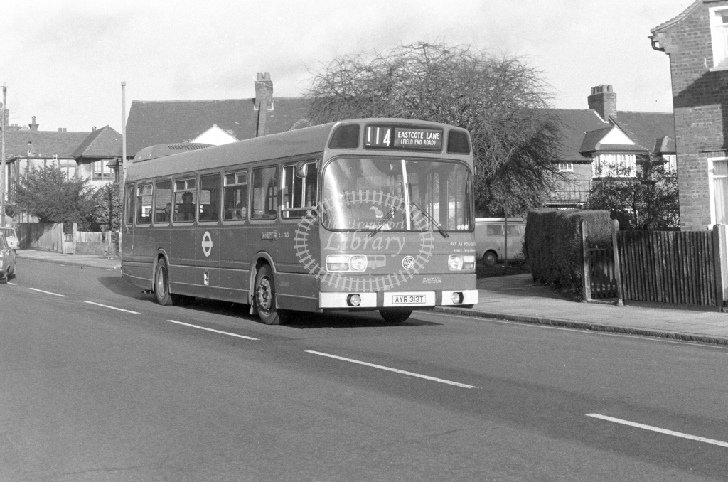 London Transport Leyland National LS313  on route 114 AYR313T  in 1979 - JGS Smith