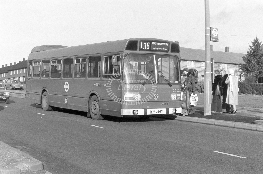 London Transport Leyland National LS336  on route 136 AYR336T  at Harrow  in 1979 - JGS Smith