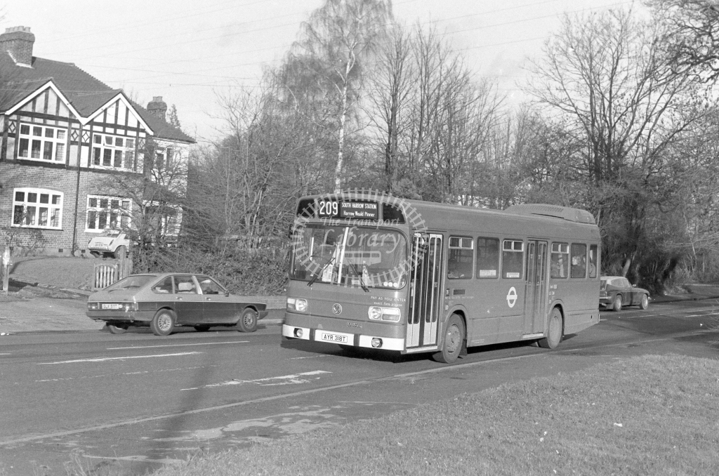 London Transport Leyland National LS318  on route 209 AYR318T  at Harrow  in 1979 - JGS Smith
