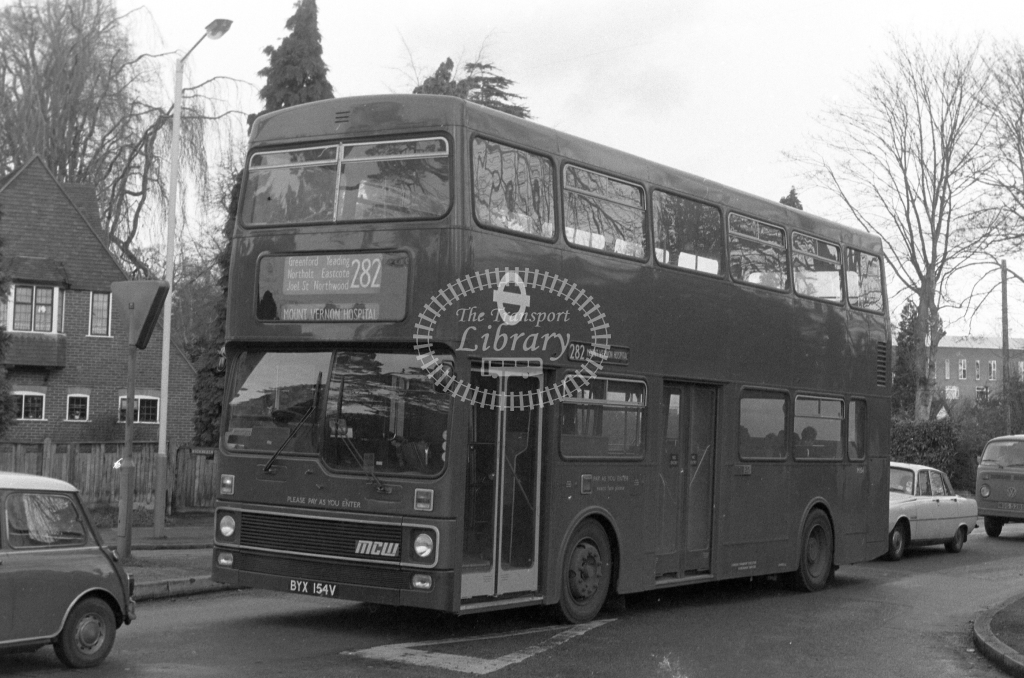 London Transport MCW Metrobus M154  on route 282 BYX154V  in 1979 - JGS Smith