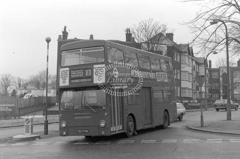 London Transport Daimler Fleetline DMS774  on route 83 TGX774M  at Hendon  in 1979 - JGS Smith