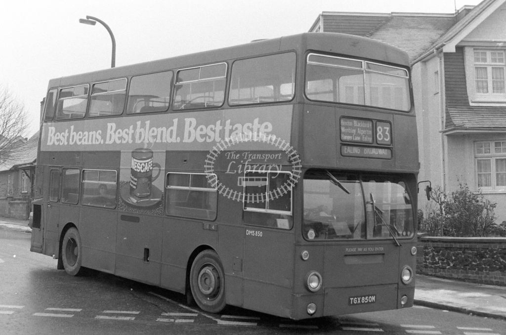 London Transport Daimler Fleetline DMS850  on route 83 TGX850M  in 1979 - JGS Smith