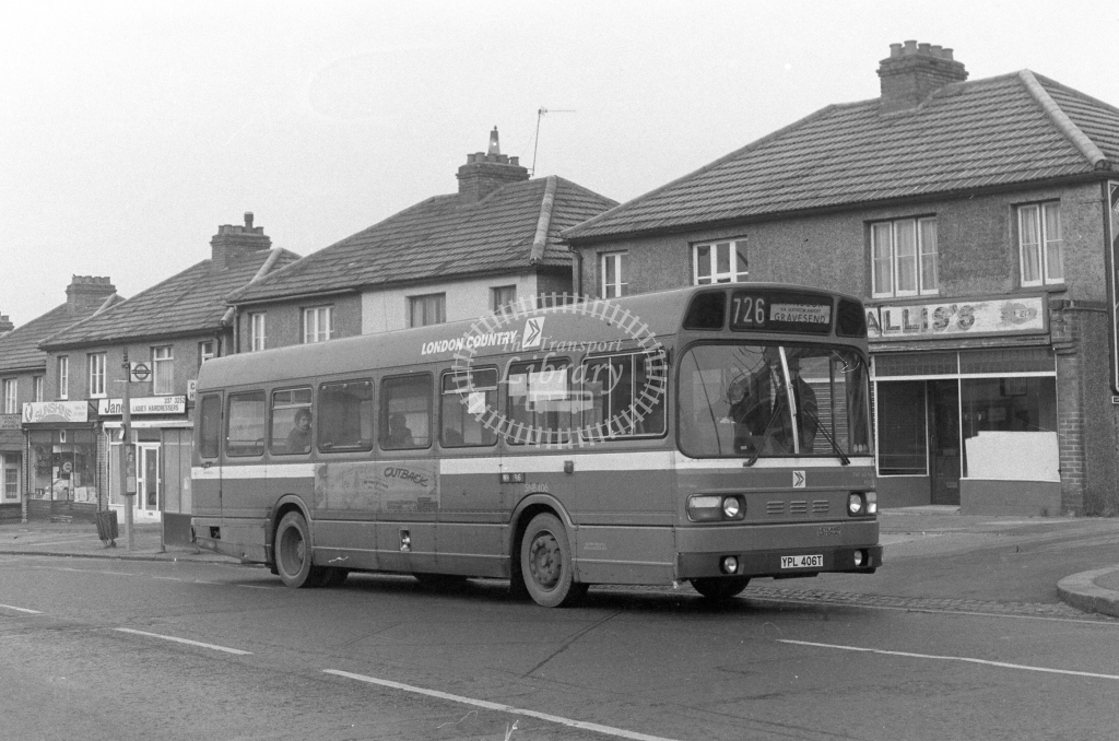 London Country Leyland National SNB406  on route 726 YPL406T  at Worcester Park  in 1980 - JGS Smith