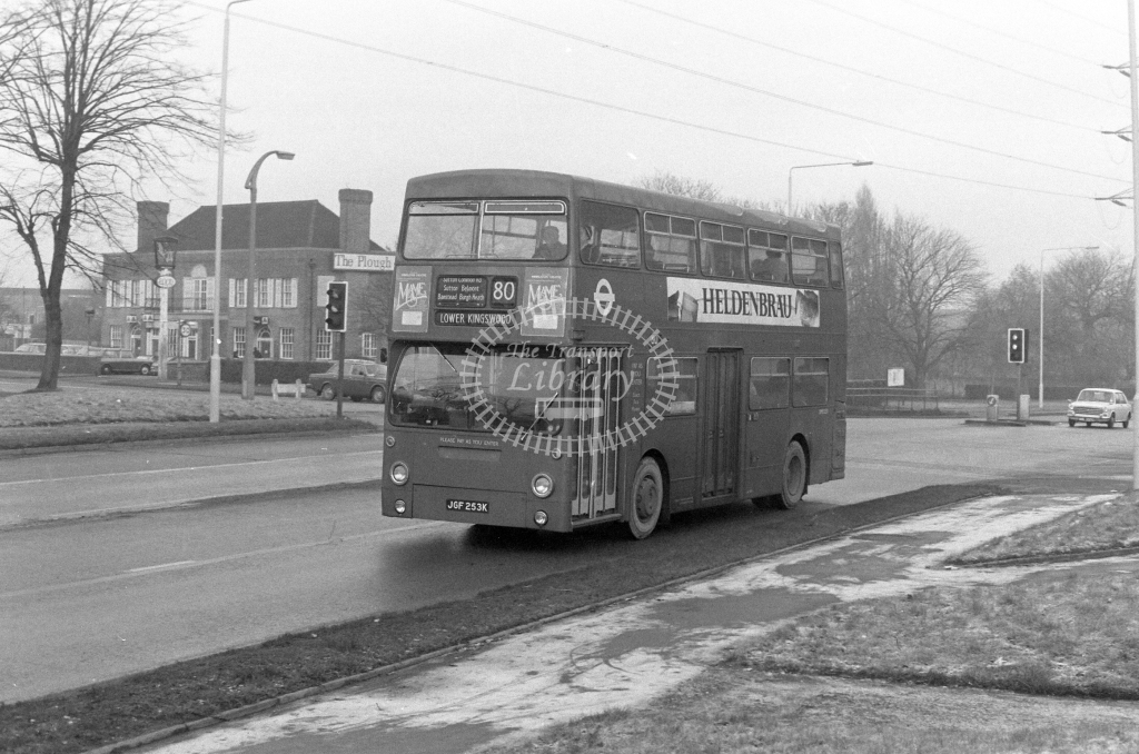 London Transport Daimler Fleetline DMS253  on route 80 JGF253K  at Sutton  in 1980 - JGS Smith