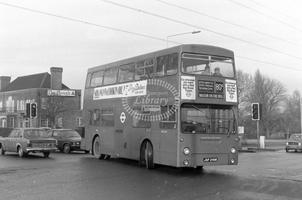 London Transport Daimler Fleetline DMS248  on route 80A JGF248K  at Sutton  in 1980 - JGS Smith
