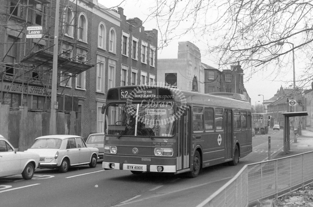 London Transport Leyland National LS406  on route S2 BYW406V  in 1980 - JGS Smith
