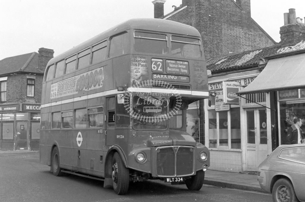 London Transport AEC Routemaster RM334  on route 62 WLT334  in 1980 - JGS Smith