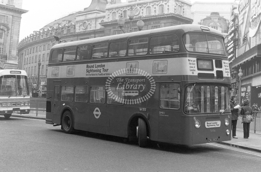 London Transport Daimler Fleetline DM01 CRU182C  at Piccadilly Circus  in 1980 - JGS Smith