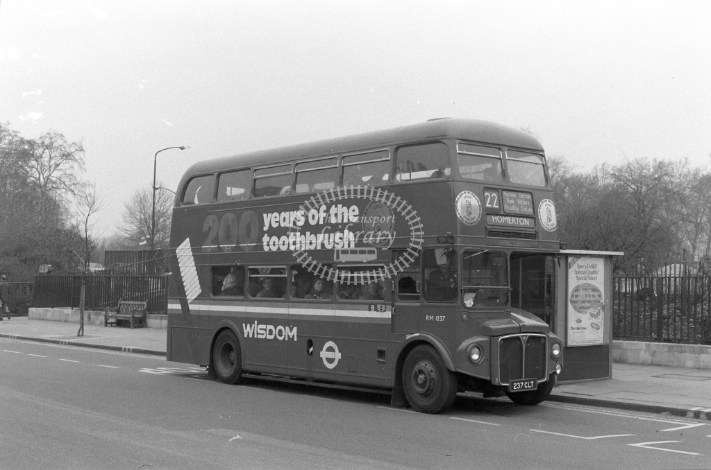 London Transport AEC Routemaster RM1237  on route 22 237CLT  at Hyde Park Corner  in 1980 - JGS Smith