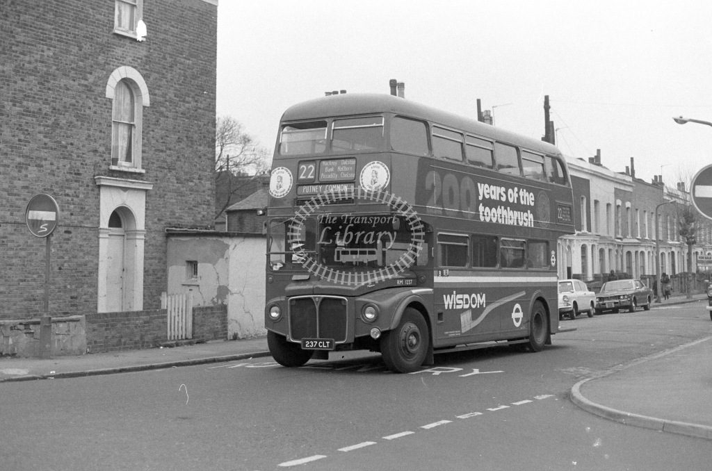London Transport AEC Routemaster RM1237  on route 22 237CLT  in 1980 - JGS Smith