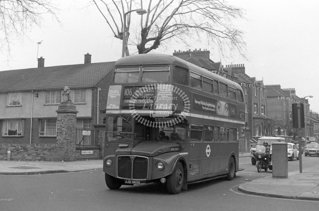 London Transport AEC Routemaster RML2485  on route 106 JJD485D  at Stoke Newington  in 1980 - JGS Smith