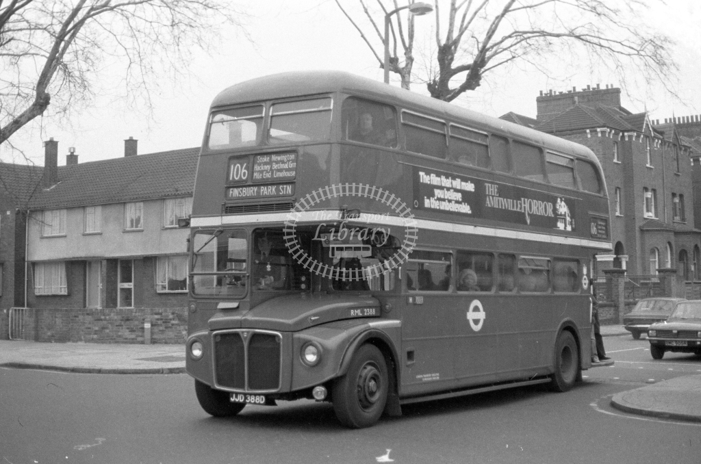 London Transport AEC Routemaster RML2388  on route 106 JJD388D  at Stoke Newington  in 1980 - JGS Smith