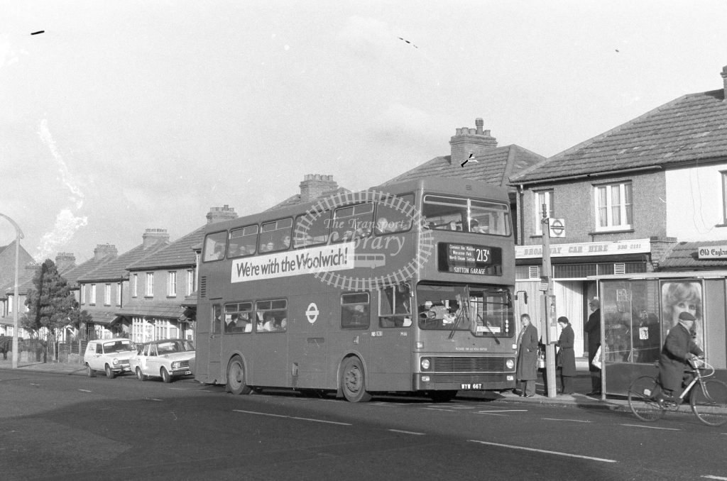 London Transport MCW Metrobus M66  on route 213A WYW66T  at Worcester Park  in 1980 - JGS Smith