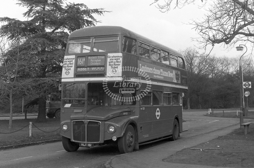 London Transport AEC Routemaster RM151  on route 161A VLT151  at Chislehurst  in 1980 - JGS Smith
