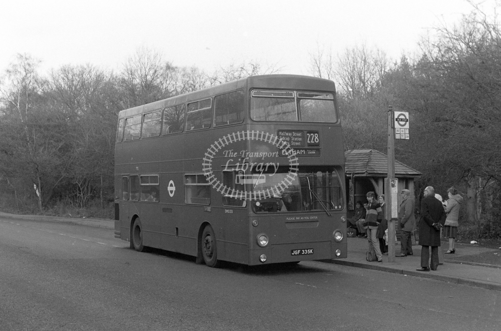 London Transport Daimler Fleetline DMS335  on route 228 JGF335K  at Chislehurst  in 1980 - JGS Smith