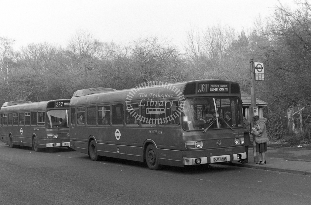 London Transport Leyland National LS58  on route 61 OJD858R  at Chislehurst  in 1980 - JGS Smith