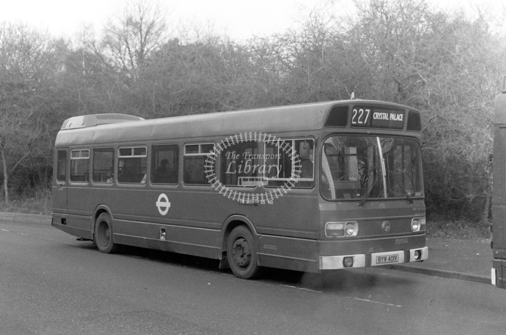 London Transport Leyland National LS401  on route 227 BYW401V  at Chislehurst  in 1980 - JGS Smith