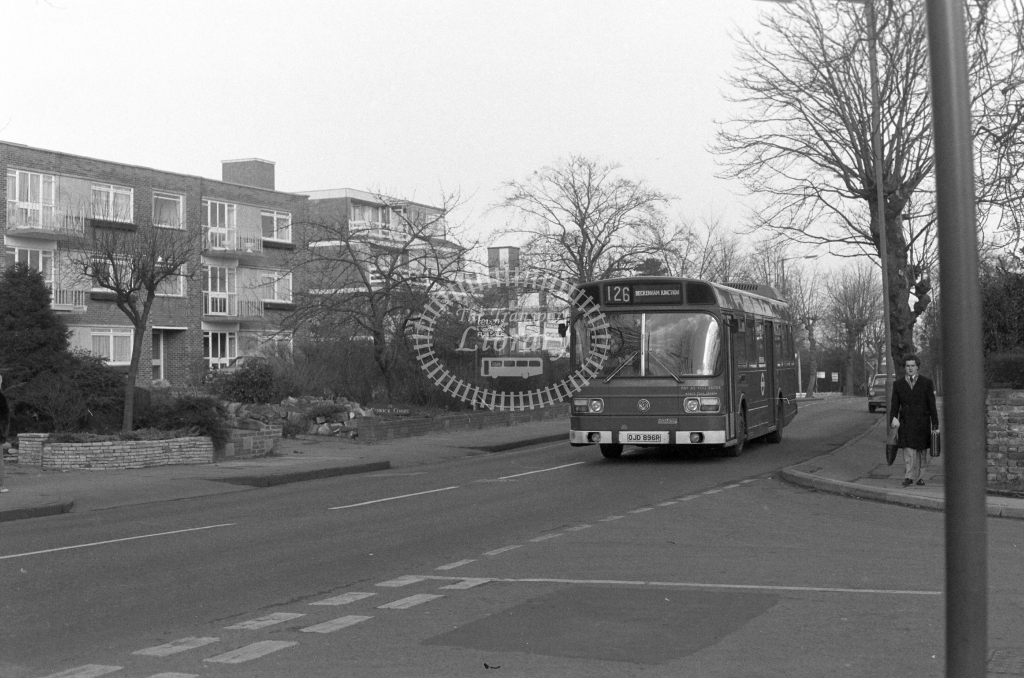 London Transport Leyland National LS96  on route 126 OJD896R  at Bromley  in 1980 - JGS Smith