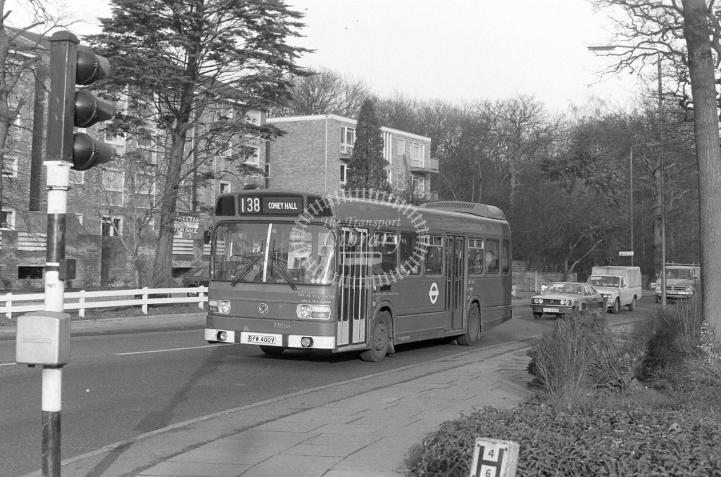 London Transport Leyland National LS400  on route 138 BYW400V  at Bromley  in 1980 - JGS Smith