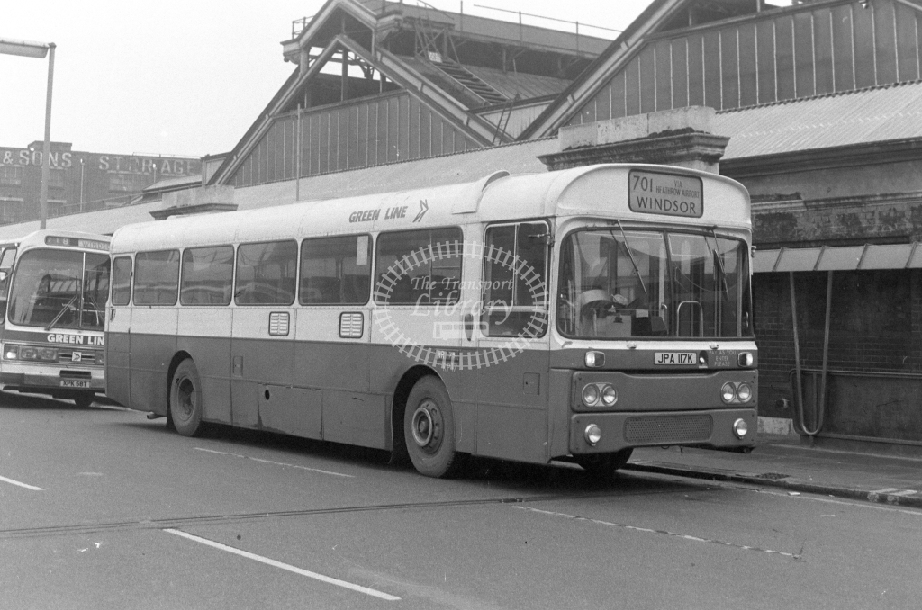 London Country AEC Reliance RP17  on route 701 JPA117K  at Victoria  in 1980 - JGS Smith