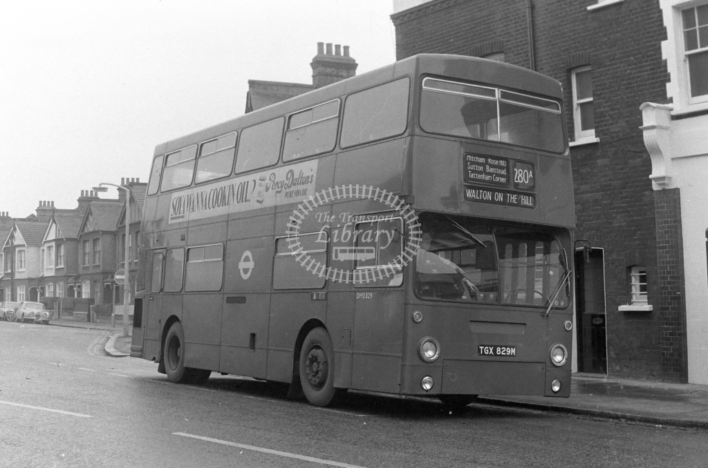 London Transport Daimler Fleetline DMS829  on route 280A TGX829M  at Tooting  in 1980 - JGS Smith