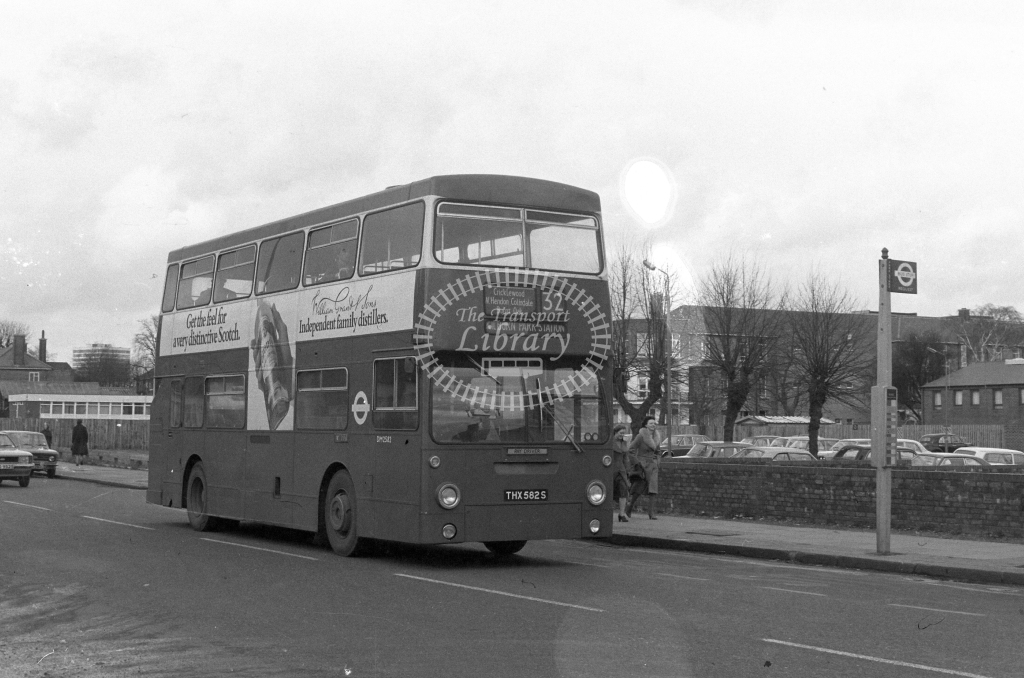 London Transport Leyland Fleetline DM2582  on route 32 THX582S  at Burnt Oak  in 1980 - JGS Smith