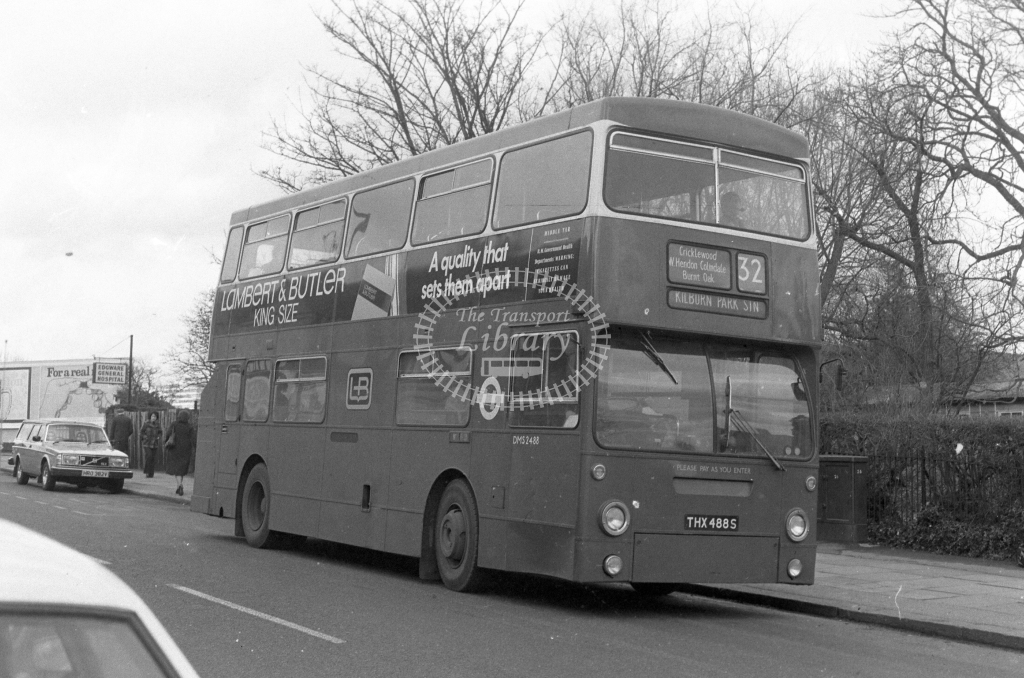 London Transport Leyland Fleetline DMS2488  on route 32 THX488S  at Burnt Oak  in 1980 - JGS Smith