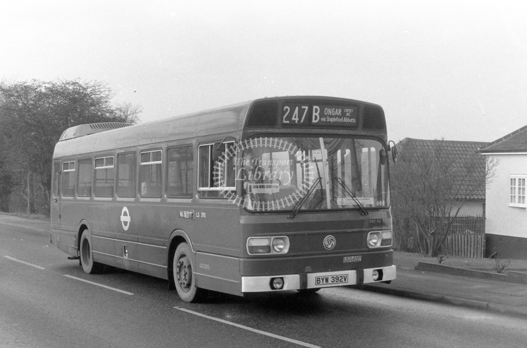 London Transport Leyland National LS392  on route 247B BYW392V  in 1980 - JGS Smith