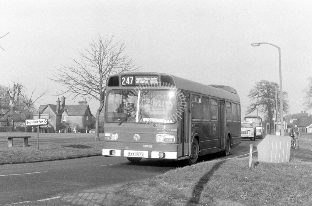 London Transport Leyland National LS367  on route 247 BYW367V  at Romford  in 1980 - JGS Smith
